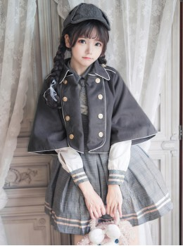 Little Bear Detective School Lolita Double-Breasted Black Cloak