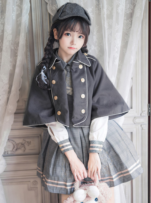 Little Bear Detective School Lolita Double-Breasted Gray Cloak