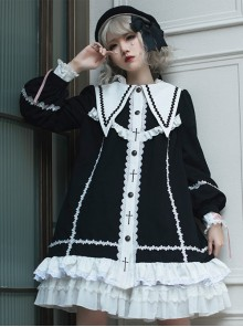 Rose-Cross Series Ruffle Hem Gothic Lolita Medium Length Coat