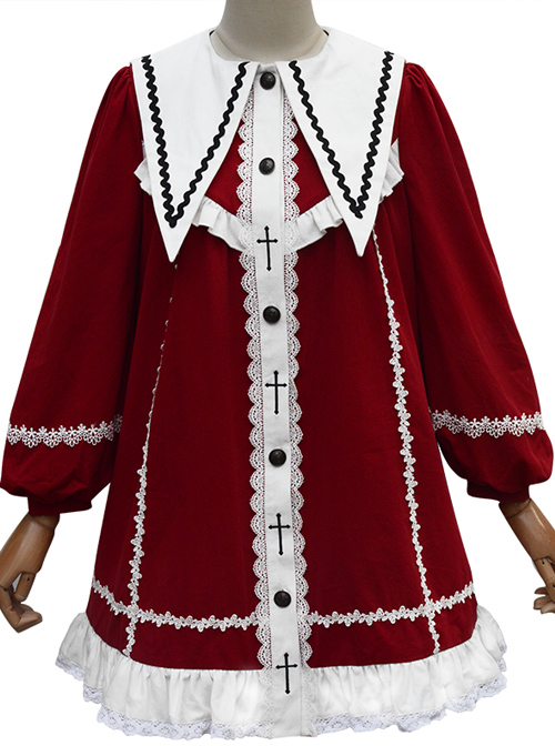 Rose-Cross Series Ruffle Hem Gothic Lolita Medium Length Coat