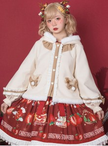 Cute Antlers Ruffle Sweet Lolita Apricot Hooded Coat