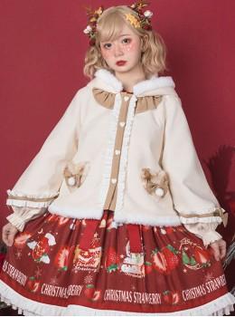 Cute Antlers Ruffle Sweet Lolita Apricot Hooded Coat