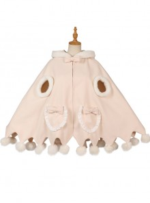 Plush Ball Cute Coat Winter Thickening Plus Velvet Sweet Lolita Cloak