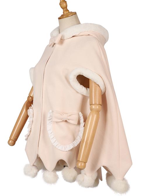 Plush Ball Cute Coat Winter Thickening Plus Velvet Sweet Lolita Cloak