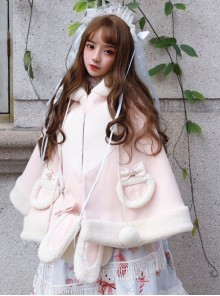 Christmas Rabbit Series Hooded Thicken Pink Sweet Lolita Cloak