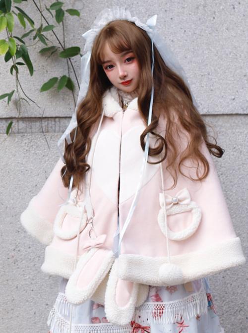 Christmas Rabbit Series Hooded Thicken Pink Sweet Lolita Cloak