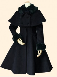 Retro Slim Doll Collar Classic Lolita Coat And Double-breasted Cloak Set