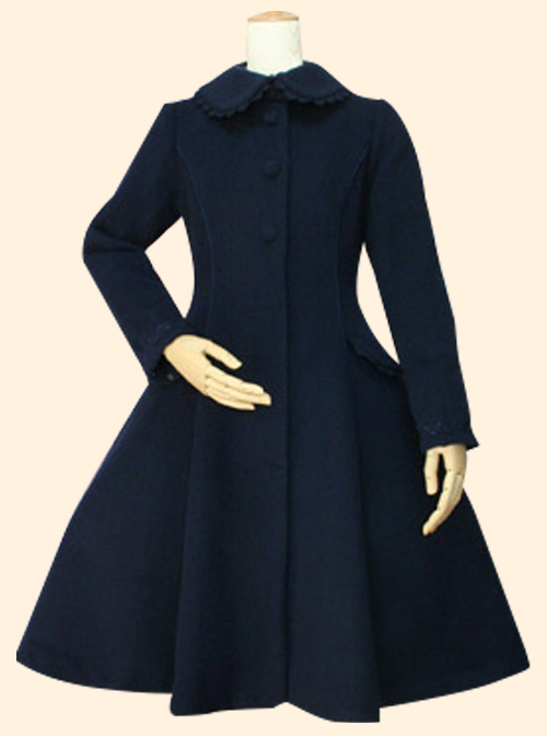 Retro Slim Doll Collar Classic Lolita Coat And Double-breasted Cloak Set