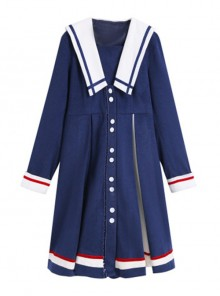 Autumn Winter Blue Navy Collar Thick Style School Lolita Coat