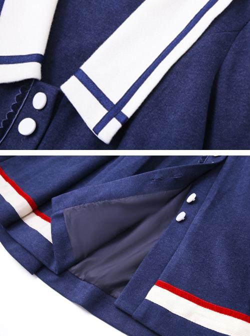 Autumn Winter Blue Navy Collar Thick Style School Lolita Coat
