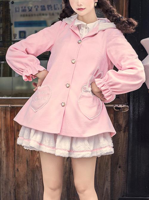 Cute Pink Rabbit Ears Sweet Lolita Woolen Coat