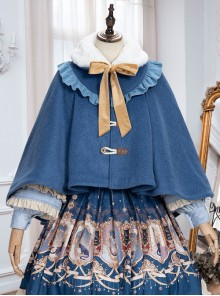 Explore The Stars Series Ruffle Retro Classic Lolita Blue Cloak