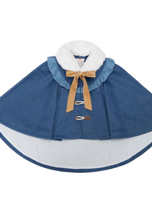 Explore The Stars Series Ruffle Retro Classic Lolita Blue Cloak