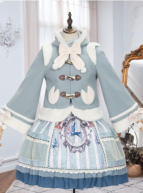 Cute Calf Hooded Sweet Lolita Autumn Winter Thicken Short Coat