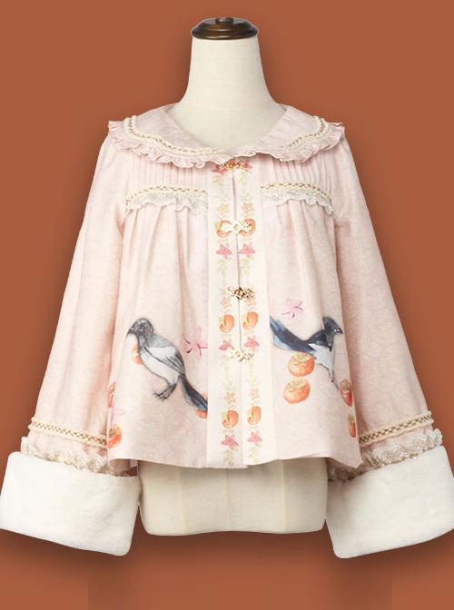 Persimmon Printing Chinese Style Sweet Lolita Thin Short Coat