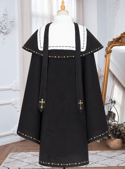 Autumn Winter Golden Embroidery Cloak School Lolita Three-piece Suit