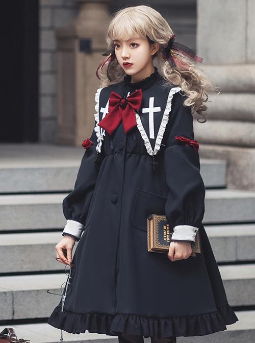 Nun Diary Series Double-faced Tweed Gothic Lolita Retro Black Coat