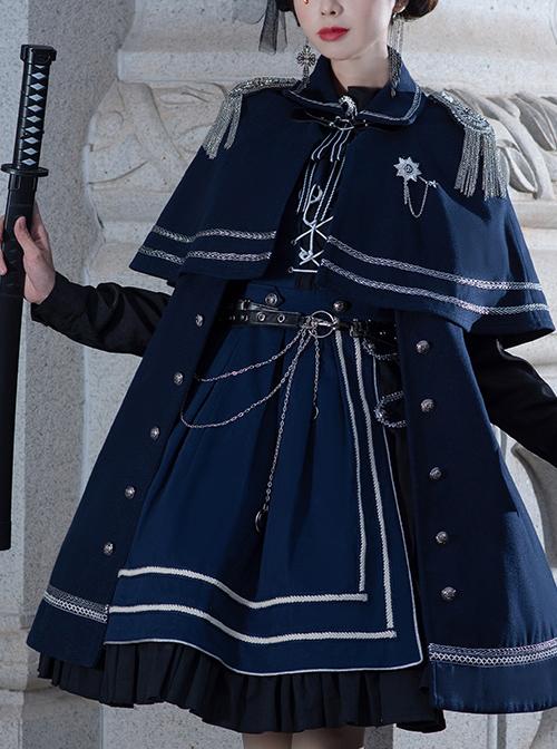 War Without War Series Military Style Lolita Autumn Winter Navy Blue Cloak