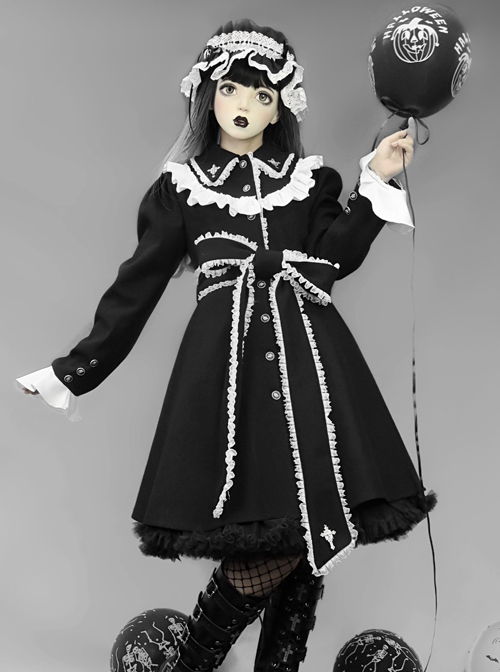 Gothic Cross White Lace Slim Black Lolita Coat