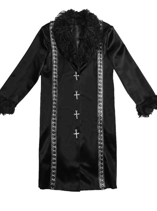 Dark Matter Series Black Plush Collar Gothic Long Coat Female