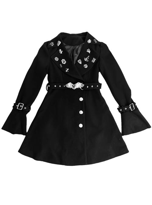 Darkness Gothic Metal Decoration Black Medium Length Coat
