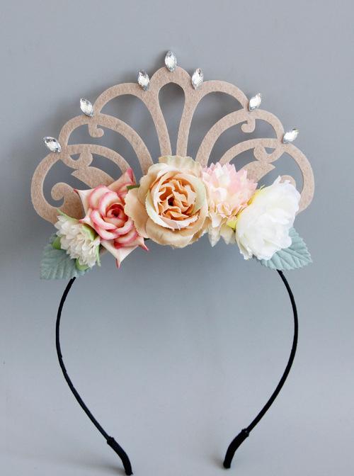 Princess Flowers Imperial Crown Lolita Hair Hoop