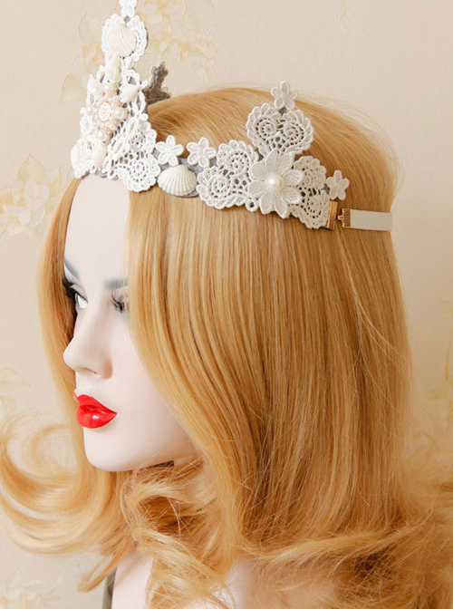Baroque Pearl Shell Big Crown Lolita Hair Band