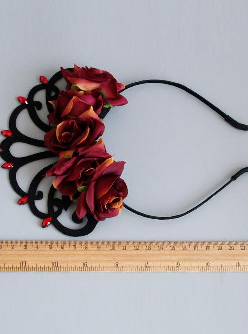 Vintage Baroque Queen Rose Crown Lolita Headband