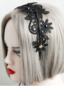 Concise Black Lace Gothic Lolita Headband