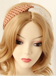 Retro Pink And Black Polka Dot And White Lace Hair Band