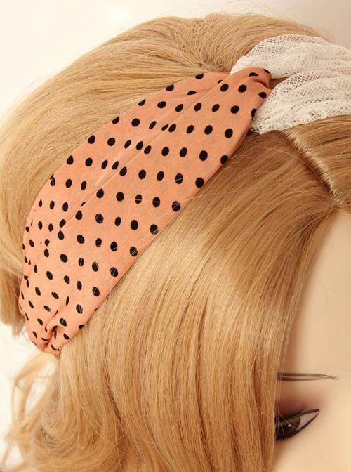 Retro Pink And Black Polka Dot And White Lace Hair Band