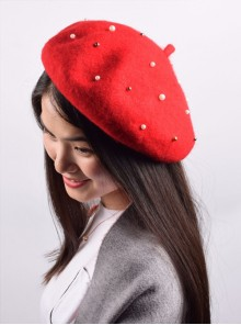 Concise Red Pure Color Pearl Lolita Beret