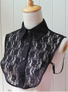 Black Lace Retro Lapel False Collar