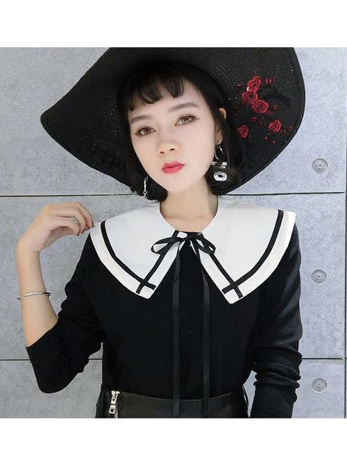 Chiffon Navy Collar Black Tied Ribbon White Decorative Small Shawl