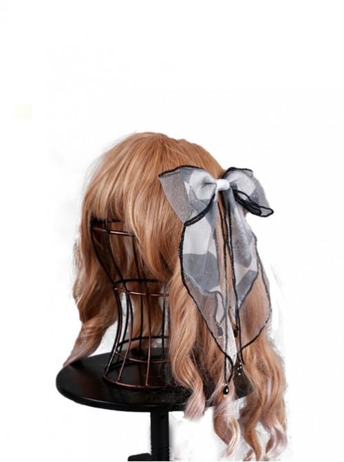 Obsidian Butterfly's Dance Misty Rain Gray Lolita Hair Clip