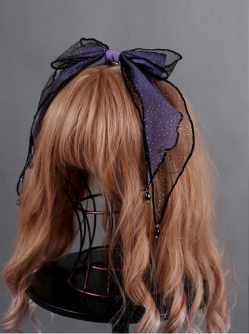Obsidian Butterfly's Dance Crystal Purple Lolita Hair Clip