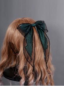 Obsidian Butterfly's Dance Emerald Lolita Hair Clip