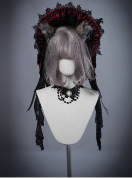 Moon Wolf Red And Black Lace Gothic Lolita Bonnet