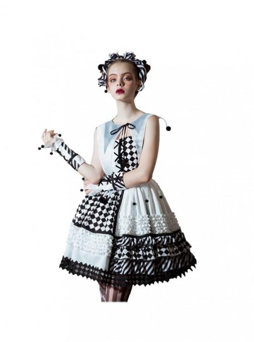 Clown Girl Series Black White Asymmetric Design Gothic Lolita False Collar