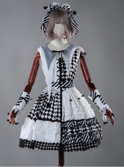 Clown Girl Series Black White Gothic Lolita Hand Sleeves