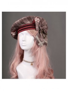 Cats Series Wine Red Lattice Bowknot Classic Lolita Beret