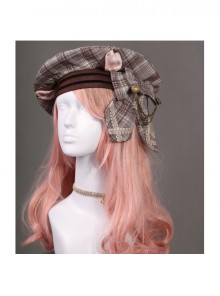 Cats Series Dark Brown Lattice Bowknot Classic Lolita Beret