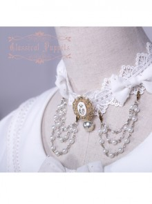 Wedding Cat Series Pearl Chain White Lace Lolita Necklace