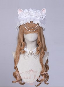 Wedding Cat Series White Rose Pearl Chain White Lace Lolita Hair Band