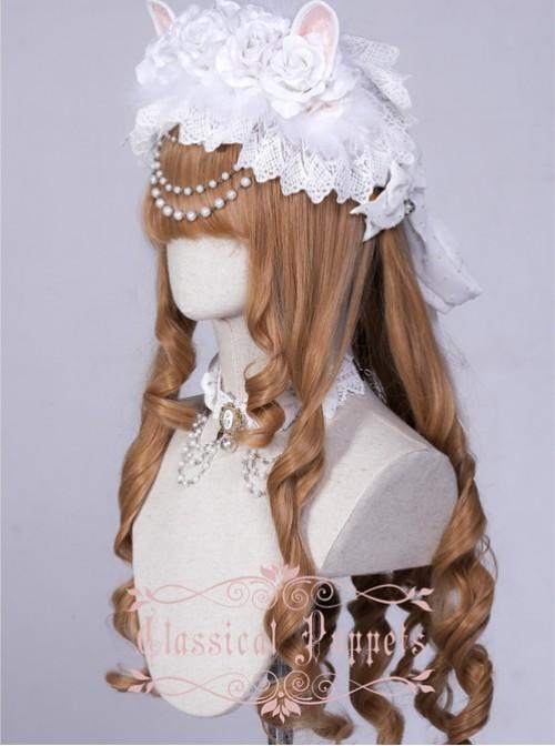 Wedding Cat Series White Rose Pearl Chain White Lace Lolita Hair Band
