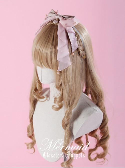 Mermaid Series Long Ribbon Yarn Pink Bowknot Lolita Head Band