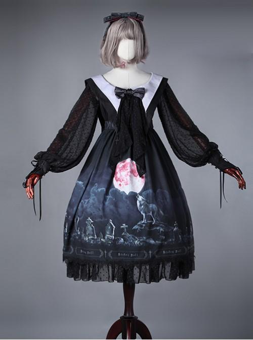 Moon Wolf Series Daily Edition Black Bowknot Gothic Lolita Head Band