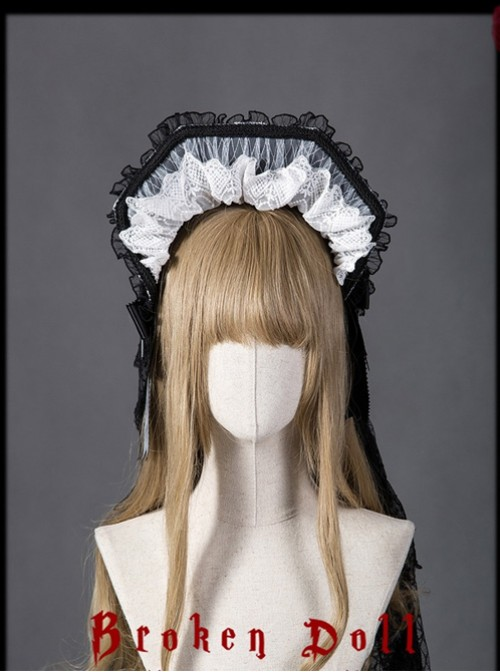 Mother Abbess Series Black Lace Gothic Lolita Head Band