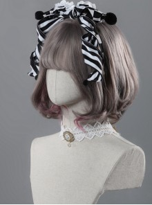 Clown Girl Series Black And White Stripes Bowknot Lolita Head Band