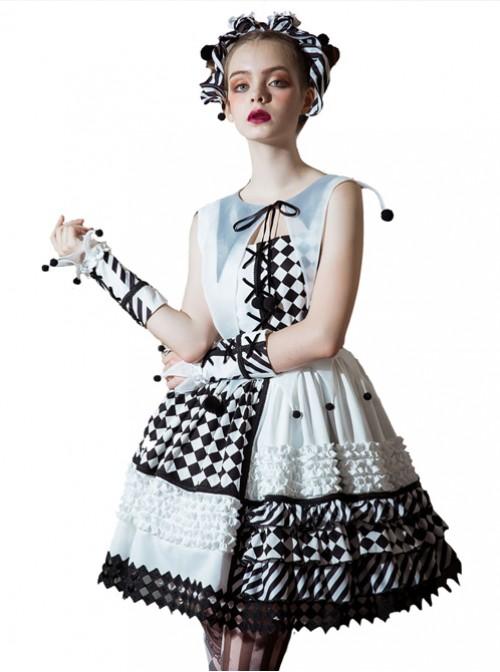 Clown Girl Series Black And White Stripes Bowknot Lolita Head Band